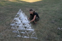 Preparing to launch 28-celled tetrahedral kite shown in video
